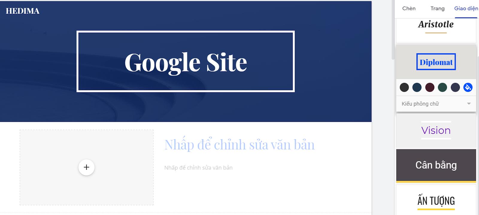Theme của Google Site