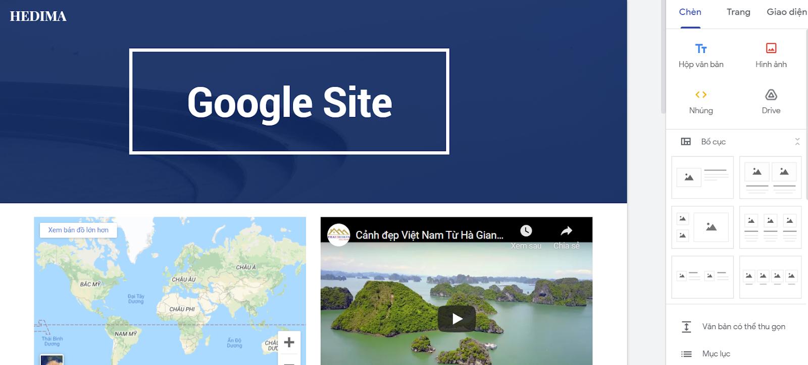 Google Site kết hợp các tiện ích khác của Google