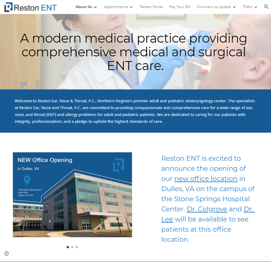 Website của Reston ENT care