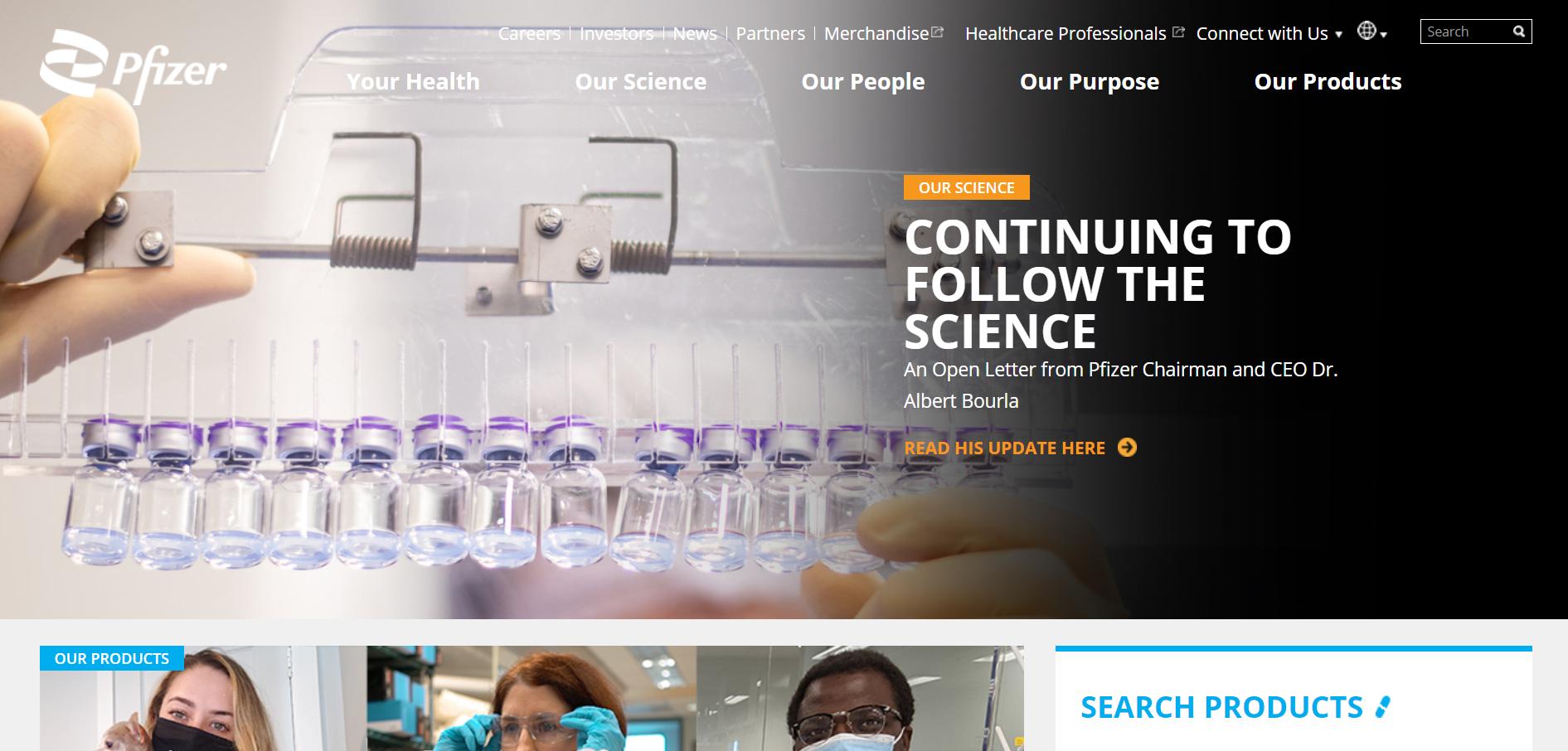 Website branding Pfizer
