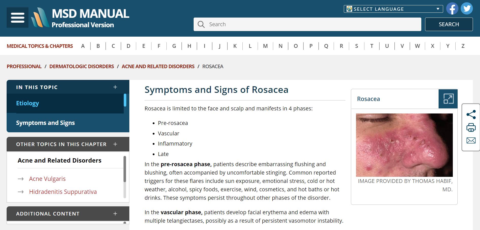 Website MSD Manual phiên bản dành cho chuyên gia