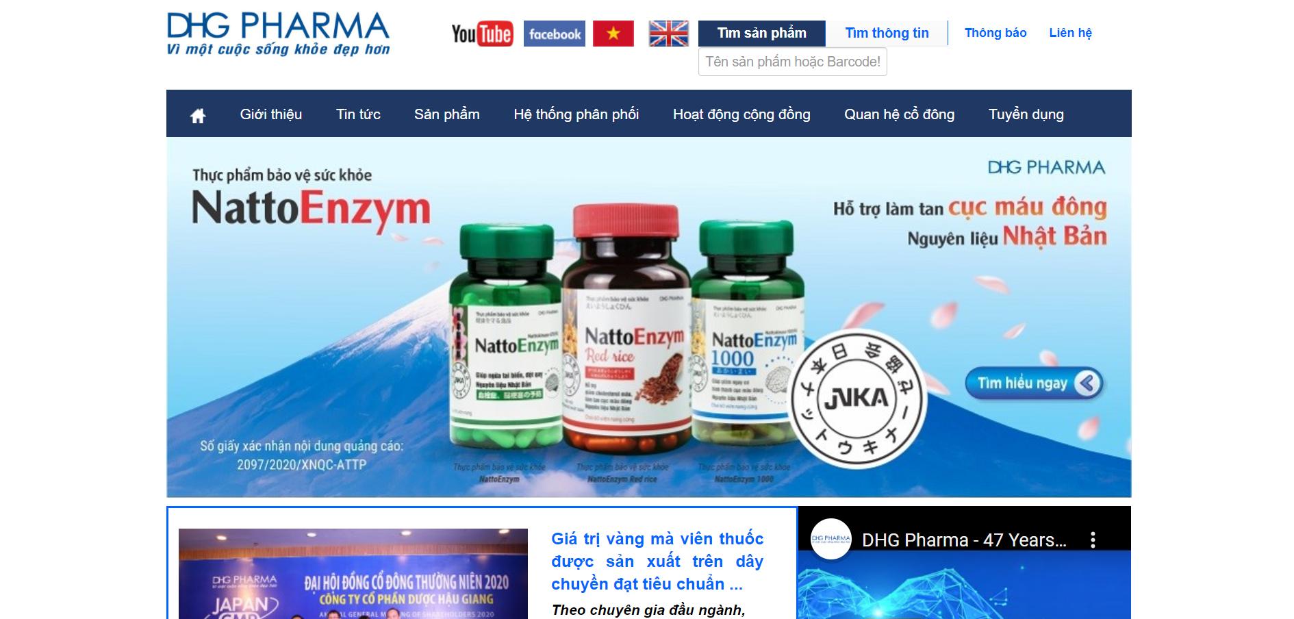 Website Công ty Dược Hậu Giang